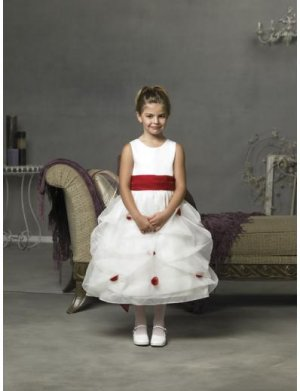 A-line Round-neck Tea-length Organza Flower girls Dress 2010 style(FGD0072)