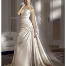 A-Line/Princess Strapless Chapel Train Satin wedding dress for brides new Style(WDS0041)