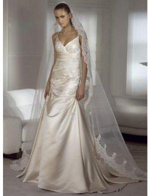 A-Line/Princess V-neck Chapel Train Satin wedding dress for brides new Style(WDS0042)