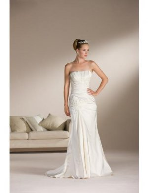 A-Line/Princess Strapless Sweeping Train Satin wedding dress for brides new Style(WDS0079)