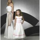 A-line Round-neck Tea-length Satin Flower girls Dress 2010 style(FGD0066)
