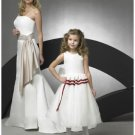 A-line Round-neck Tea-length Satin Flower girls Dress new style(FGD0065)