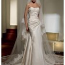 A-Line/Princess Strapless Chapel Train Satin wedding dress for brides new Style(WDS0060)