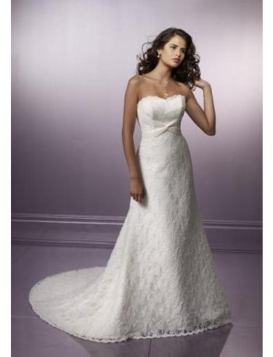 A-Line/Princess Strapless Chapel Train Satin wedding dress for brides new style(WDE0057)