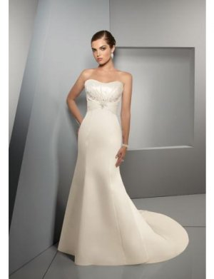 A-Line/Princess Strapless Chapel Train Satin wedding dress for brides new style(WDE0043)