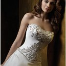 A-Line/Princess Strapless Chapel Train Satin wedding dress (WS0061) for brides new Style