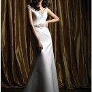A-Line/Princess V-neck Chapel Train Satin wedding dress (WS0066) for brides new Style