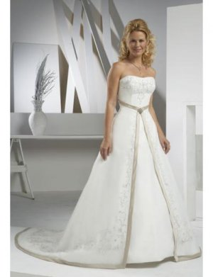 A-Line/Princess Strapless Cathedral Train Organza wedding dress (WD6855)  for brides new Style