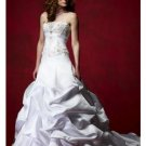 A-Line/Princess Strapless Chapel Train Satin wedding dress (WD92910)  for brides new Style