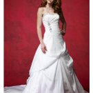 A-Line/Princess Strapless Chapel Train Satin wedding dress (WD92118)  for brides new Style