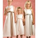 A-line Scoop Knee-Length Satin Flower Girl Dress 2010 style(FGD0117)