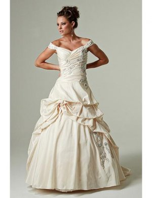 A-Line/Princess Off-the-shoulder Sweeping Train Taffeta wedding dress(WEDS0034) for brides new Style