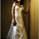 A-Line/Princess Off-the-shoulder Chapel Train Satin wedding dress (WS0058) for brides new Style
