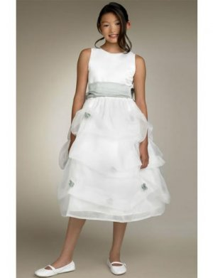 A-line Scoop Tea-Length Organza Flower Girl Dress NEW style(FGD0122)