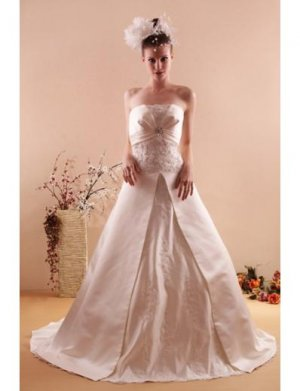 Princess/A-Line Strapless Chapel train Satin wedding dress for brides new style(WD03)