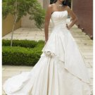A-Line/Princess Round Cathedral Train Taffeta wedding dress (WS2103)