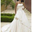 A-Line/Princess Round Cathedral Train Taffeta wedding dress (WS2103)