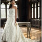 A-Line/Princess Strapless Cathedral Train Satin wedding dress (WD1142) for brides new style