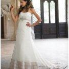 A-Line/Princess Bateau Chapel Train Satin wedding dress (WD1122) for brides new style
