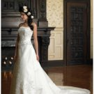 A-Line/Princess Strapless Cathedral Train Satin wedding dress for brides new Style(WDS1138)