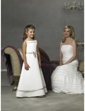 A-line Off-the-shoulder Tea-length Satin Flower girls Dress 2010 style(FGD0074)