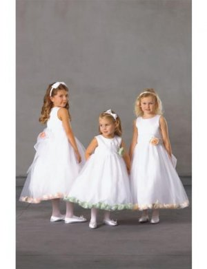 A-line Scoop Knee-Length Organza Flower Girl Dress NEW style(FGD0125)