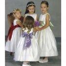 A-line Round-neck Tea-Length Satin Flower Girl Dress NEW style(FGD0126)