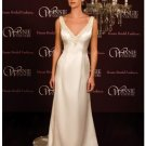 A-Line/Princess V-neck Chapel Train Satin wedding dress (SEW0023) for brides new style