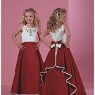 A-line Scoop Floor Length Satin Flower girls Dress 2010 style(FGD0049)