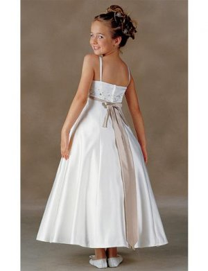 A-Line Square Tea-length Satin Flower girls dress 2010 Style(FGD0001)