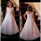 A-line Square Brush Train Satin Flower girls Dress 2010 style(FGD0042)
