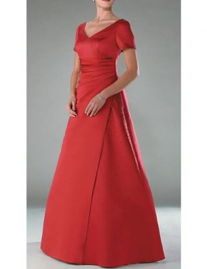 A-Line V-neck Floor- Length Satin Mother of the Bride Dresses new Style(MWYN003)