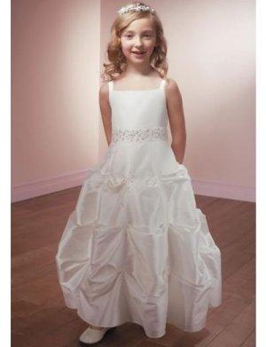 A-line Square Knee-Length Satin Flower Girl Dress 2010 style(FGD0102)