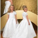 A-line V-neck Chapel Train Satin Flower girls Dress 2010 style(FGD0061)