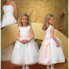 A-line Round-neck Tea-length Organza Flower girls Dress 2010 style(FGD0058)