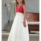 A-Line Round-neck Floor- Length Satin Flower girls Dress 2010 Style(FGD0009)