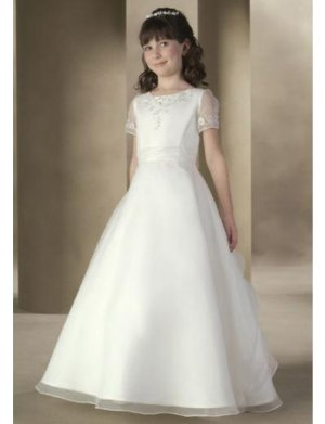 A-Line Round-neck Floor- Length Organza Flower girls Dress 2010 Style(FGD0008)