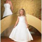A-line jewer Floor Length Satin Flower girls Dress 2010 style(FGD0057)