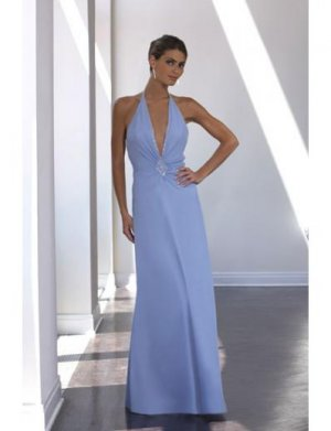 A-Line/Princess Halter Top Floor-Length Satin Bridesmaid dress for brides new Style(BD0038)