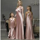 Empire V-neck Floor Length Satin Bridesmaid Dresses for brides new style(BD0296)