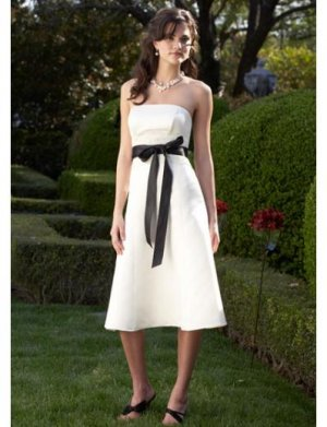 A-Line/Princess Strapless knee-length Satin Bridesmaid Dresses for brides new style(BDS0013)