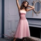 A-Line/Princess Strapless Tea-length Organza Bridesmaid dress for brides new Style(BDS0061)