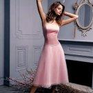 A-Line/Princess Strapless Tea-length Organza Bridesmaid dress for brides new Style(BDS0061)