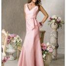 A-Line/Princess V-neck Floor-Length Satin Bridesmaid dress for brides new Style(BDS0031)