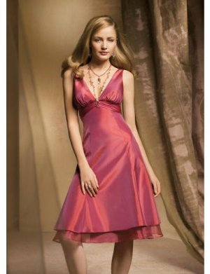 A-Line/Princess V-neck knee-length Satin Bridesmaid dress for brides new Style(BDS0033)