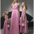 A-Line/Princess Halter Top Floor-Length Satin Bridesmaid dress for brides new Style(BD0263)