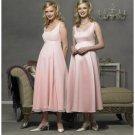 Empire Scoop Tea-length Satin Bridesmaid Dresses for brides new style(BD0285)
