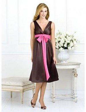 A-Line/Princess V-neck knee-length Satin Bridesmaid dress for brides new Style(BMD0063)