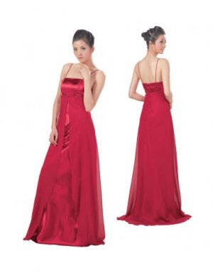 Empire spaghetti straps Sweeping Train Satin Bridesmaid dress for brides new Style(BMD0095)