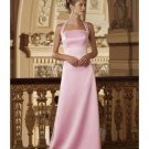 A-Line/Princess Halter Top Floor-Length Satin Bridesmaid dress for brides new Style(BD0002)